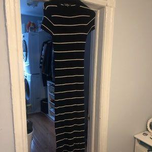 Lulus navy striped midi sweater dress